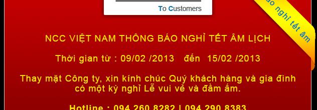 NCC VIỆT NAM Thông báo nghỉ tết âm lịch 2013